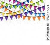 colored garlands and confetti... | Shutterstock .eps vector #443477776