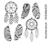 collection of hand drawn... | Shutterstock .eps vector #443486455