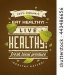 eat healthy   live healthy ... | Shutterstock .eps vector #443486656