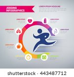 jogging infographics with icons ... | Shutterstock .eps vector #443487712