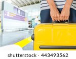 woman holding suitcase. | Shutterstock . vector #443493562
