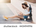 young adult using laptop... | Shutterstock . vector #443494996
