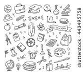 school clipart. vector doodle... | Shutterstock .eps vector #443495758