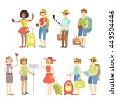 happy tourist with bags and... | Shutterstock .eps vector #443504446