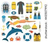 skin diving icons. snorkeling... | Shutterstock .eps vector #443507992