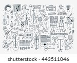 vector hand drawn cartoon icons.... | Shutterstock .eps vector #443511046