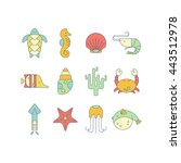 set of marine colorful icons... | Shutterstock .eps vector #443512978