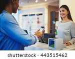 customer paying for order with... | Shutterstock . vector #443515462