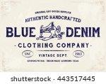 blue denim clothing print for t ... | Shutterstock .eps vector #443517445