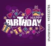 happy birthday greeting banner... | Shutterstock .eps vector #443533786