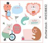 set of birthday cards  gift... | Shutterstock .eps vector #443538832