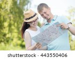 cheerful young traveling... | Shutterstock . vector #443550406