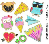 a set of realistic enamel pin... | Shutterstock . vector #443553712