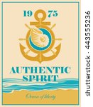 banner with an anchor  helm and ... | Shutterstock .eps vector #443555236