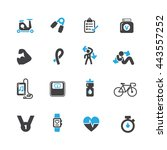 diet and fitness icons set... | Shutterstock .eps vector #443557252