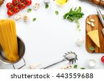 frame with spaghetti and... | Shutterstock . vector #443559688
