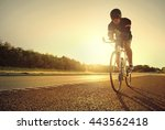 single male bicyclist back lit... | Shutterstock . vector #443562418