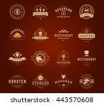 vintage restaurant logos design ...   Shutterstock .eps vector #443570608