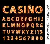vector orange neon lamp letters ... | Shutterstock .eps vector #443578645