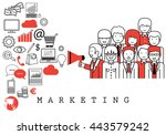 marketing team on white... | Shutterstock .eps vector #443579242