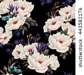 seamless floral pattern with... | Shutterstock . vector #443582176