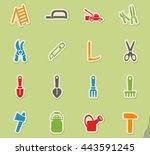 garden tools web icons for user ... | Shutterstock .eps vector #443591245