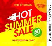 hot summer sale banner design... | Shutterstock .eps vector #443597536