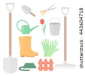 a set of tools for the garden  | Shutterstock .eps vector #443604718