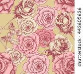 vintage pink roses pattern....   Shutterstock .eps vector #443605636
