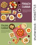 french and italian cuisine....   Shutterstock .eps vector #443607715