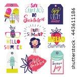 funky trendy holiday summer... | Shutterstock .eps vector #443611186