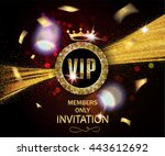 vip invitation card with gold... | Shutterstock .eps vector #443612692