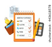 monthly expenses planning... | Shutterstock .eps vector #443618578