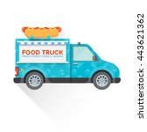 vector blue colored fast food... | Shutterstock .eps vector #443621362