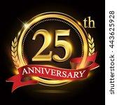 25th golden anniversary logo ... | Shutterstock .eps vector #443625928