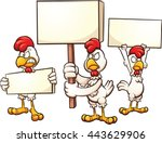 cartoon chickens protesting.... | Shutterstock .eps vector #443629906