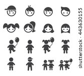 girl and boy icon set