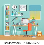 workplace of the schoo kid  ... | Shutterstock .eps vector #443638672