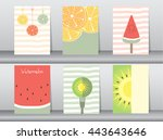 set of cute fruit poster... | Shutterstock .eps vector #443643646