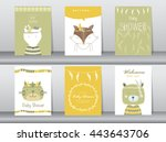 set of baby shower invitation... | Shutterstock .eps vector #443643706