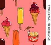 hand drawn ice cream vector... | Shutterstock .eps vector #443644618