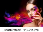 fashion model girl portrait... | Shutterstock . vector #443645698