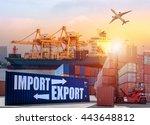 container cargo freight ship... | Shutterstock . vector #443648812