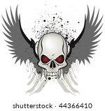 evil skull emblem on white...   Shutterstock .eps vector #44366410