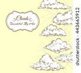background with clouds sketches.... | Shutterstock . vector #443665912