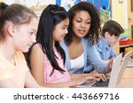 teacher helping group of... | Shutterstock . vector #443669716