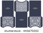 set of 3 wedding invitation... | Shutterstock .eps vector #443670202