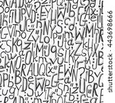 alphabet background  hand drawn ... | Shutterstock .eps vector #443698666