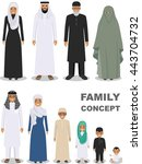 family and social concept. arab ... | Shutterstock .eps vector #443704732