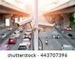 closeup of traffic security... | Shutterstock . vector #443707396